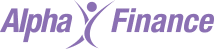 Alpha Finance logo purple